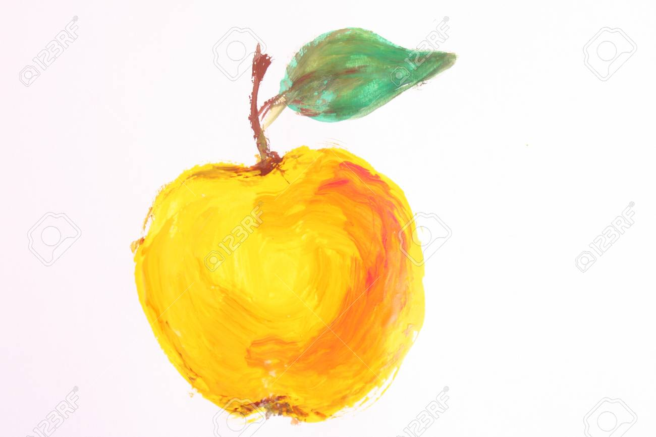 Painted yellow apple isolated on white Stock Photo - 8641367