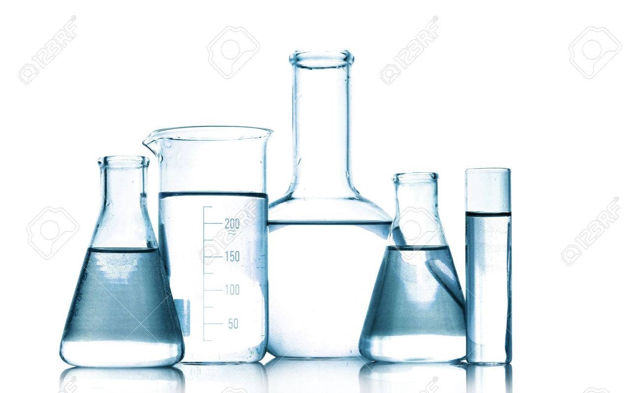 Test-tubes in gray colors isolated on white. Laboratory glassware Stock Photo - 9384471
