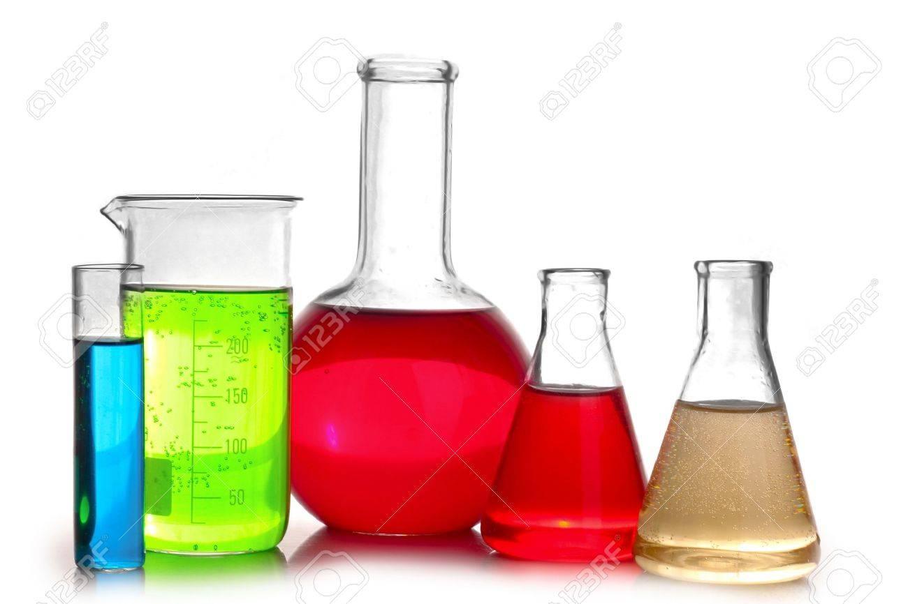 Test-tubes isolated on white. Laboratory glassware - 9384653