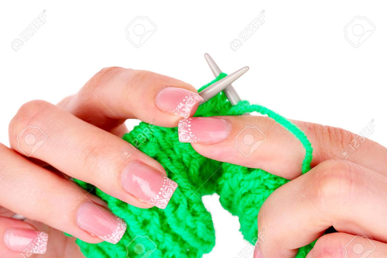 Process of knitting isolated on white Stock Photo - 9659063