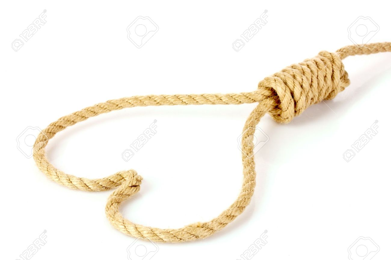 Suicide Noose In Heart Symbol Isolated On White Stock Photo Picture