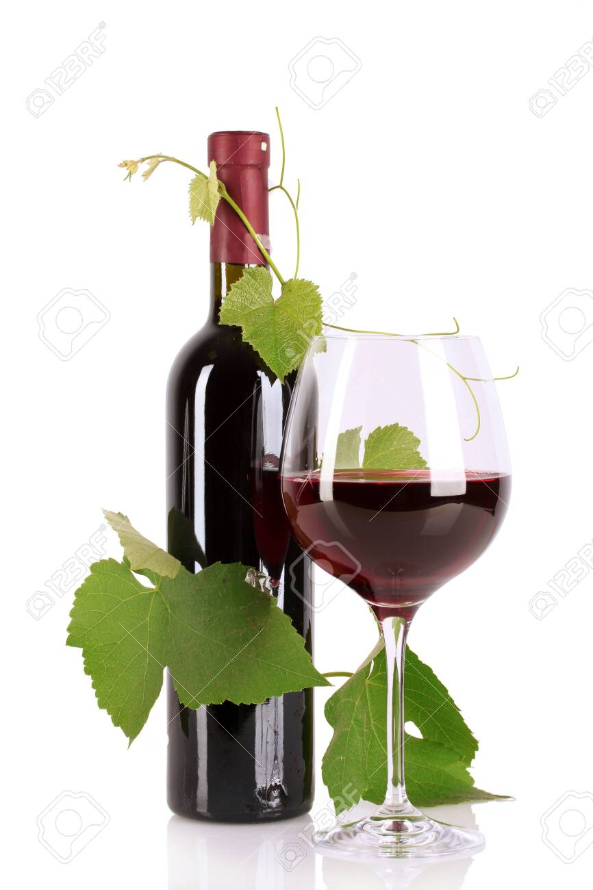 Bottle and glass with wine isolated on white Stock Photo - 9714909