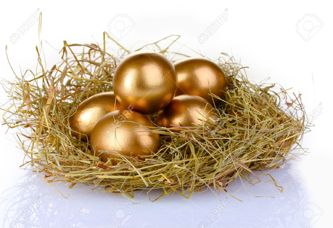 golden eggs in nest isolated on white Stock Photo - 10169701