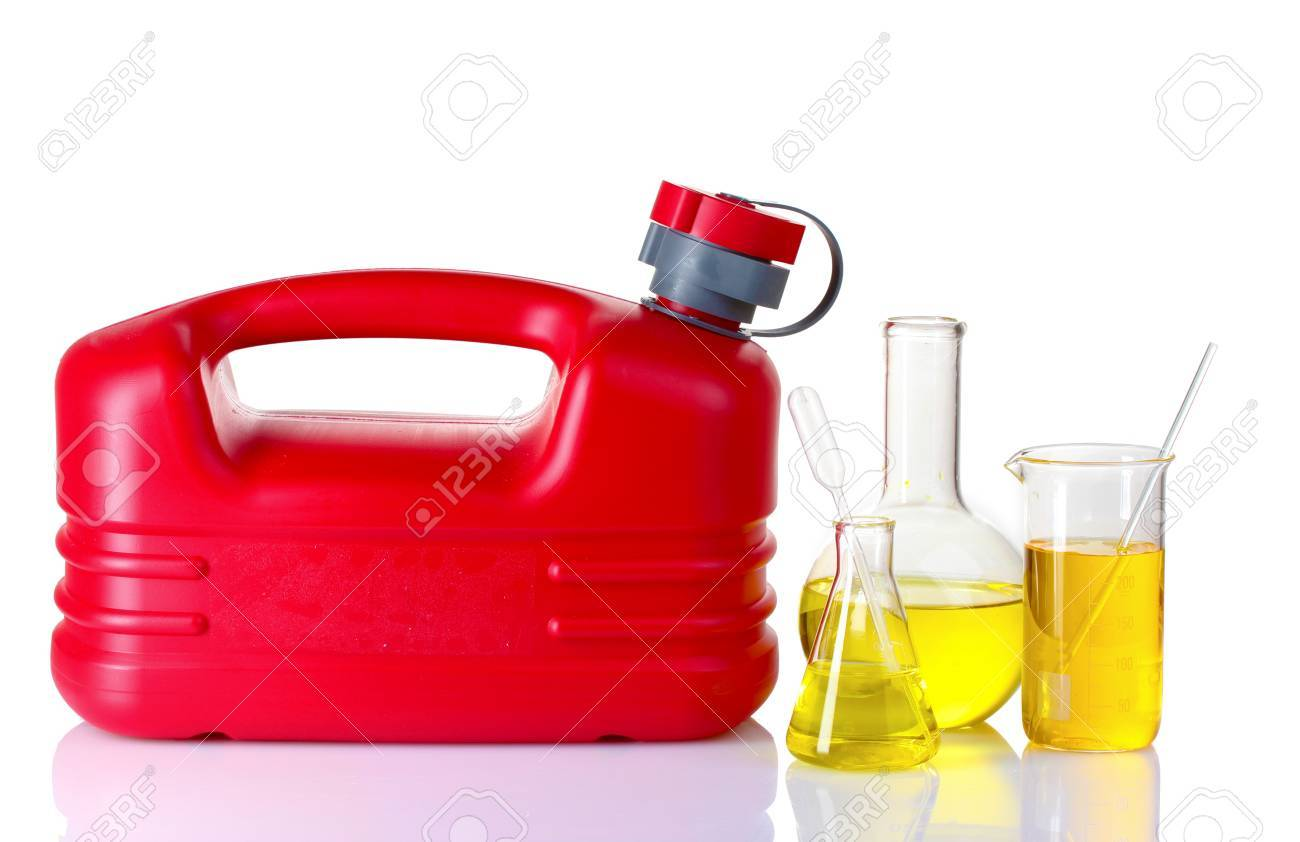 canister and fuel in test tube isolated on white - 10226414