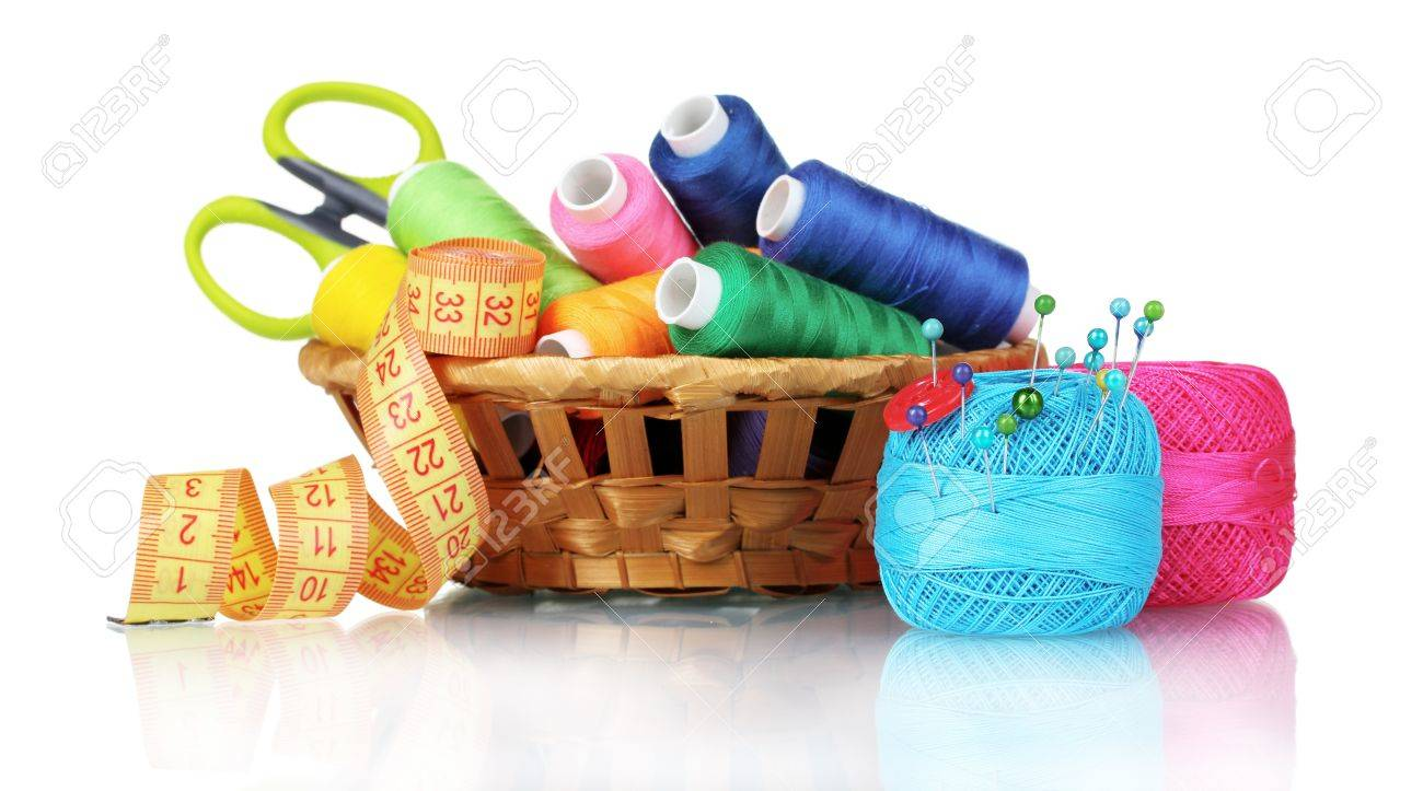 bright threads in basket, scissors and measuring tape isolated on white - 10310168