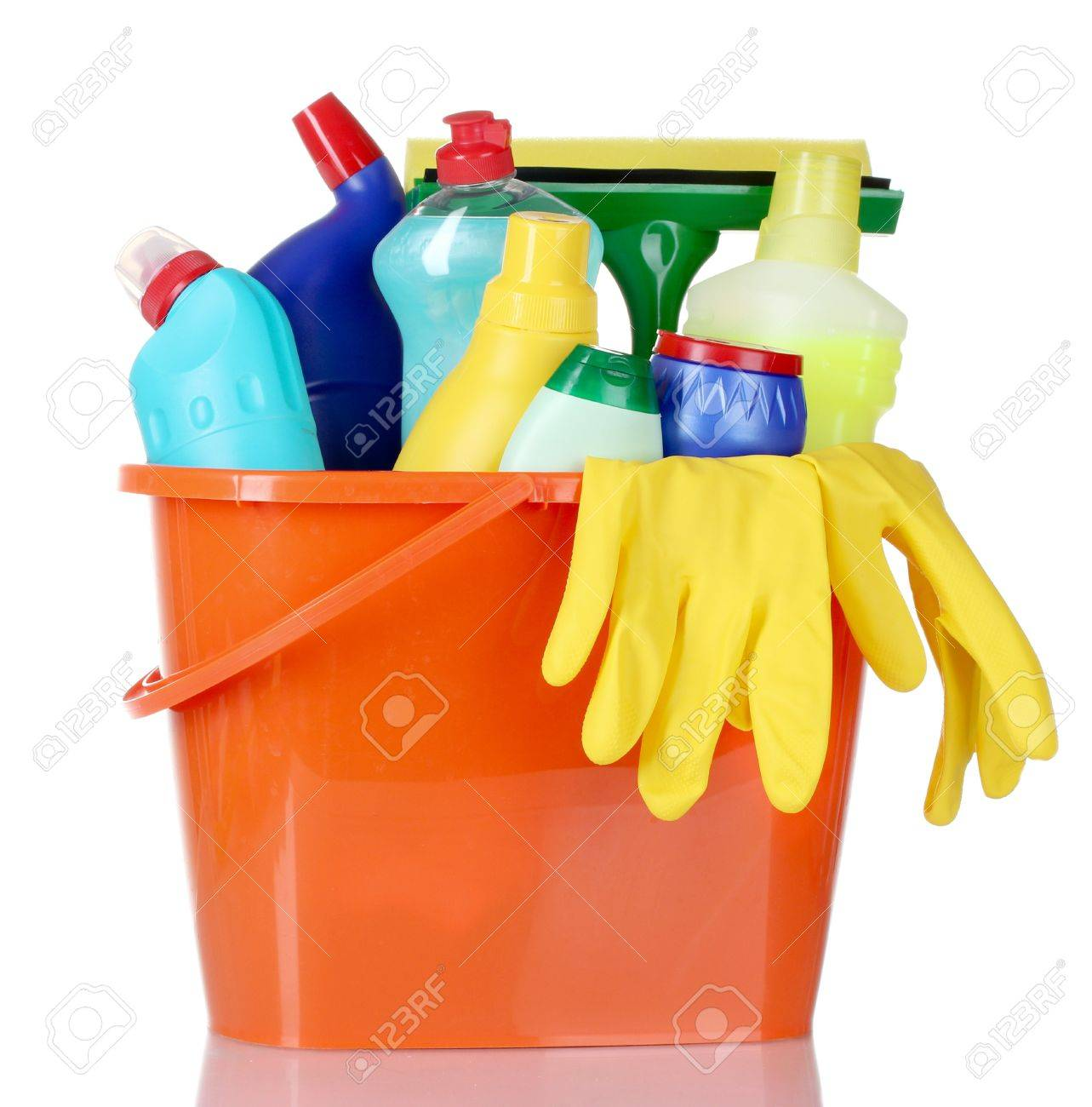 detergent bottles, brushes and gloves in bucket isolated on white Stock Photo - 10354175