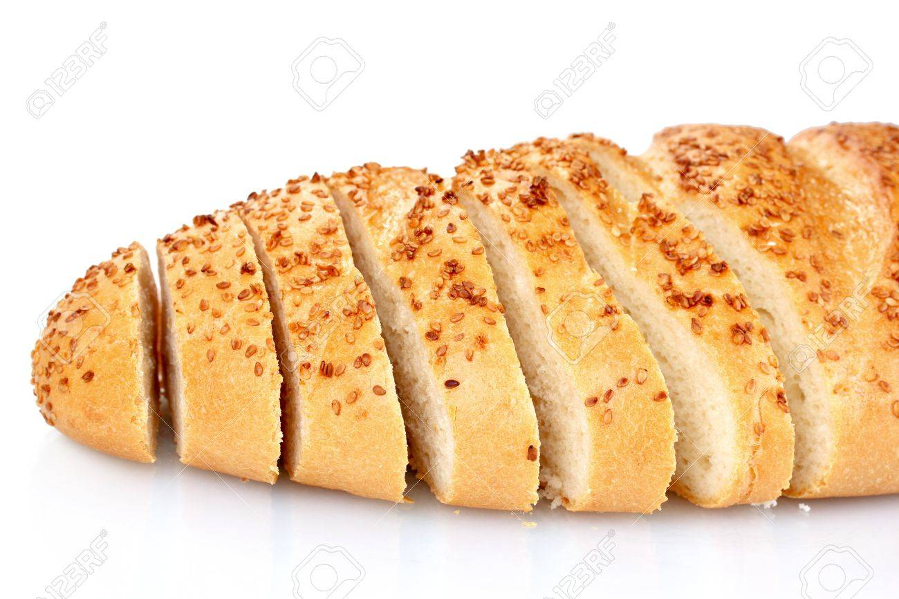 tasty sliced bread with sesame seeds isolated on white Stock Photo - 10359316