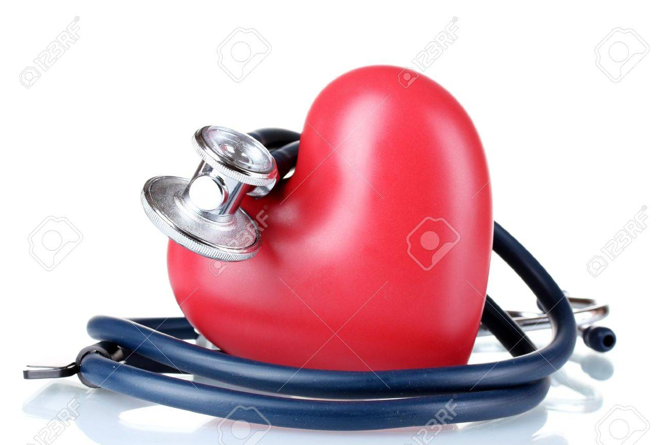 Medical stethoscope and heart isolated on white Stock Photo - 10359471