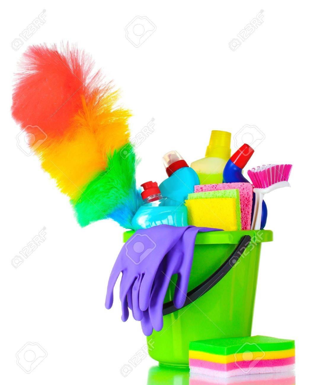 detergent bottles, brush, gloves and sponges in bucket isolated on white Stock Photo - 10394939