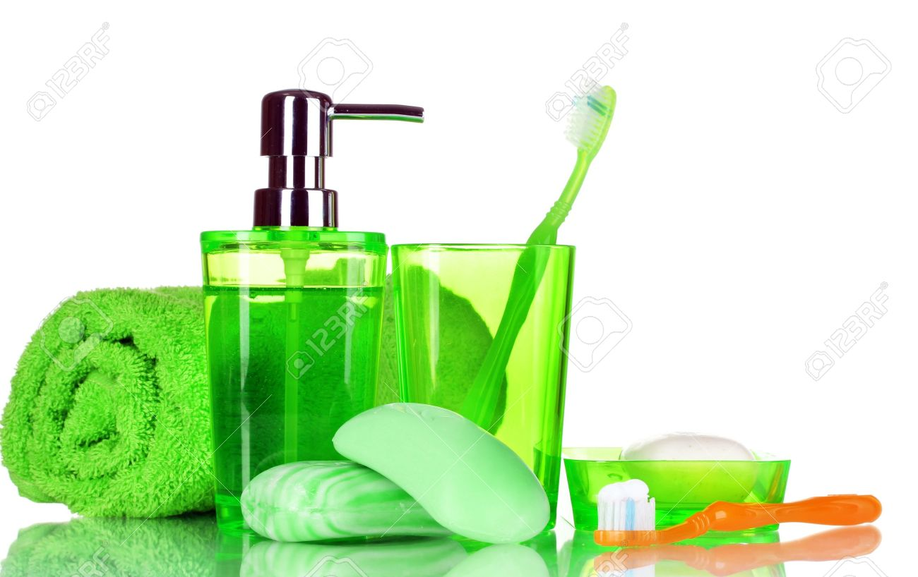 green bathroom accessories soap and towel isolated on white stock photo 10438190