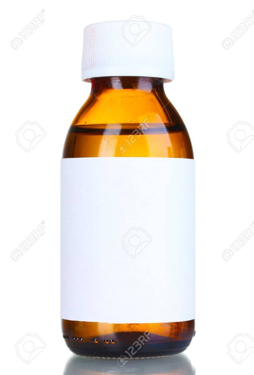8f52f355024 Liquid medicine in glass bottle isolated on white Stock Photo