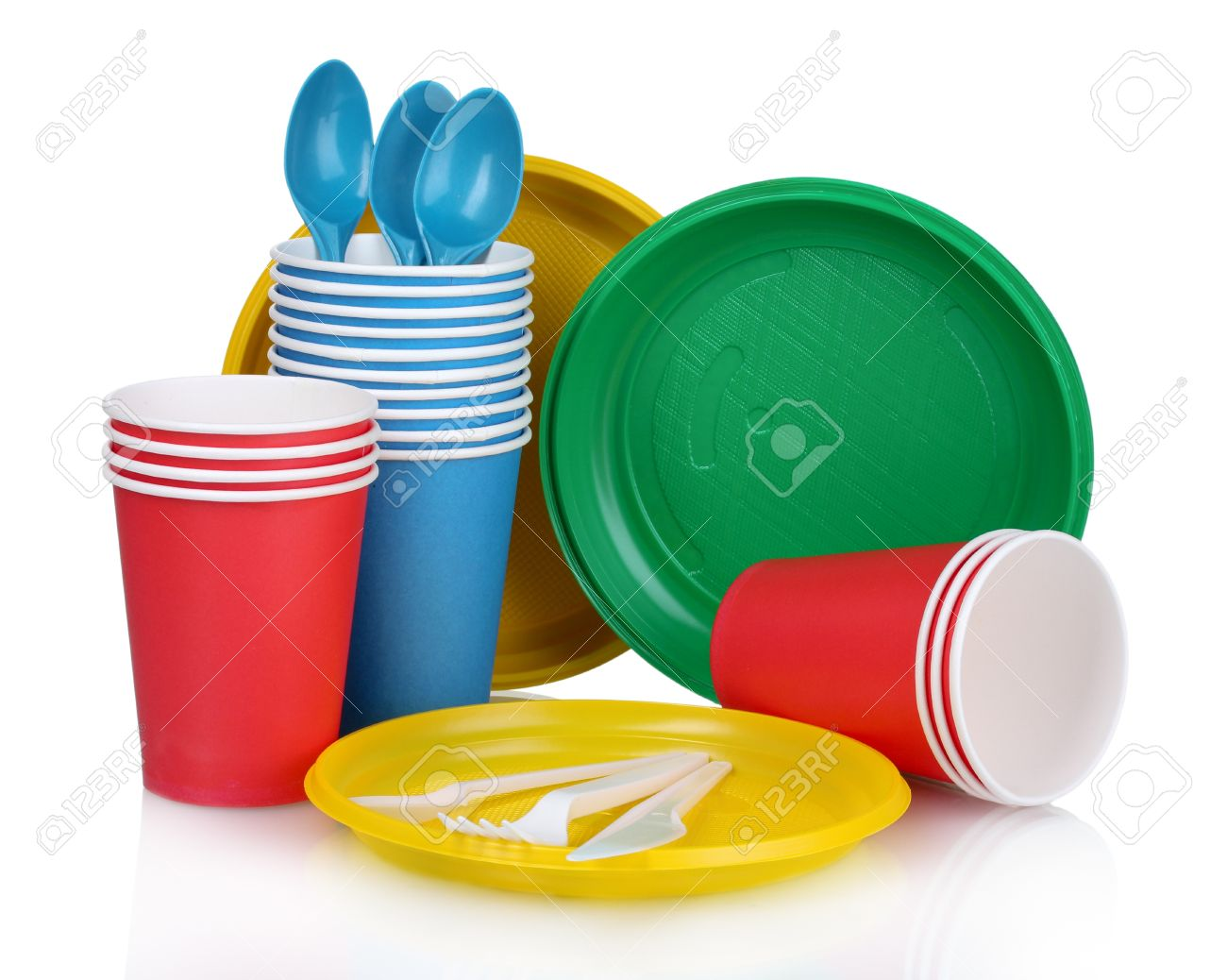 bright plastic tableware isolated on white Stock Photo - 10753711  sc 1 st  123RF.com & Bright Plastic Tableware Isolated On White Stock Photo Picture And ...