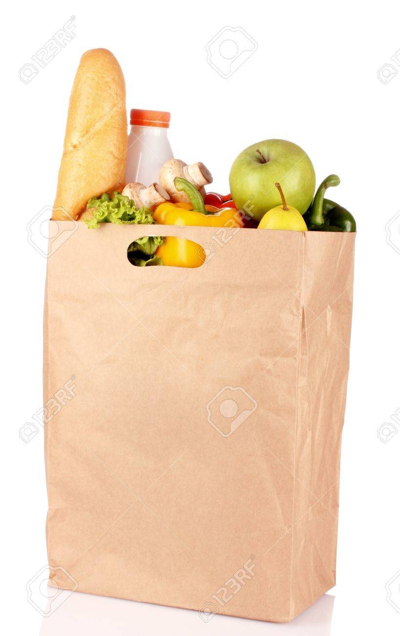 Vegetables in paper bag isolated on white Stock Photo - 10940777