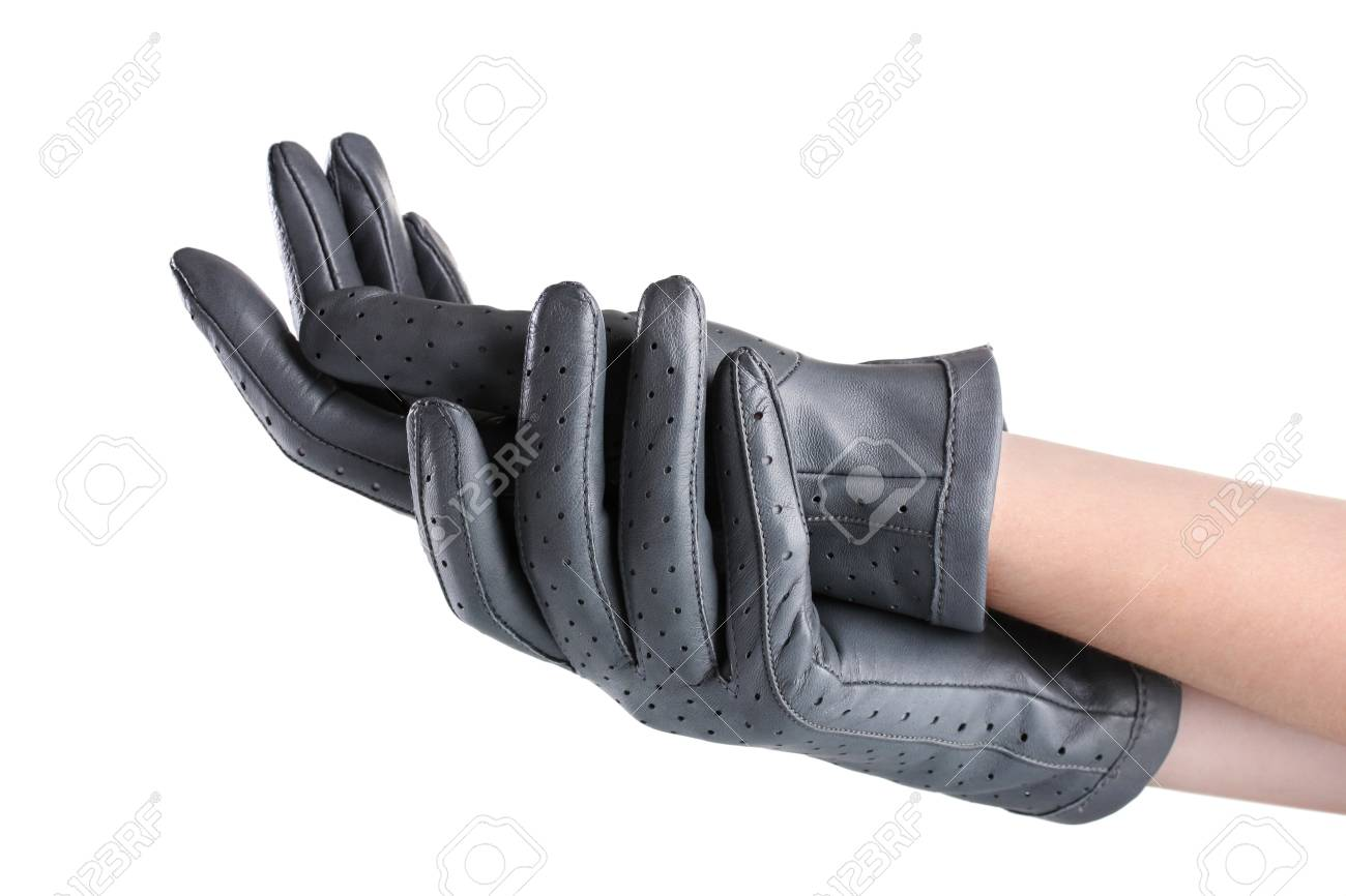 f9a6dbe94 women's hands in gray leather gloves isolated on white Stock Photo -  11070358