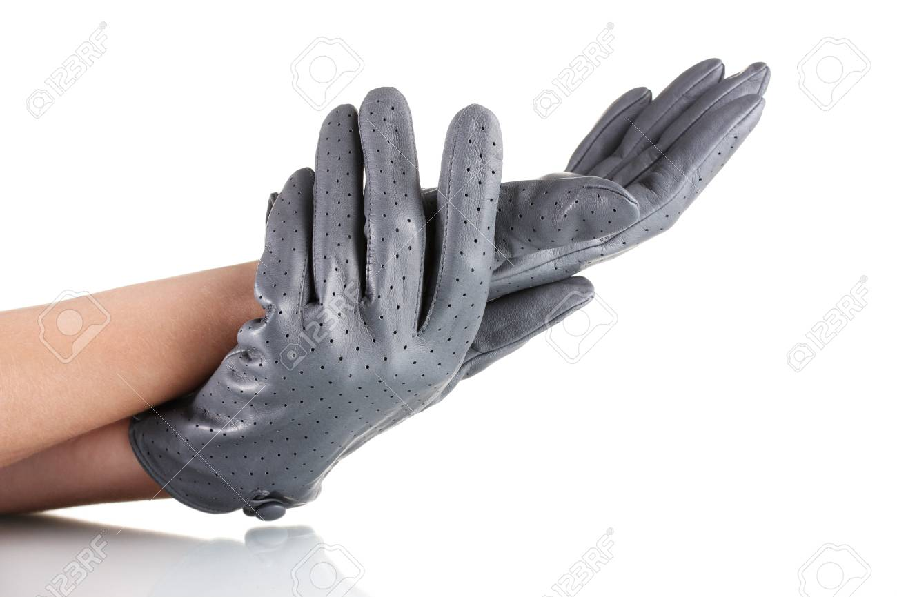 d8e0cfc24 women's hands in gray leather gloves isolated on white Stock Photo -  11070374