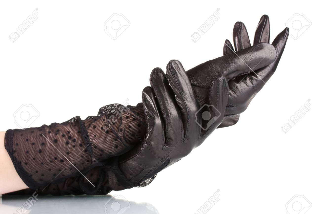 52b6e5d3f women's hands in black leather gloves isolated on white Stock Photo -  11070371