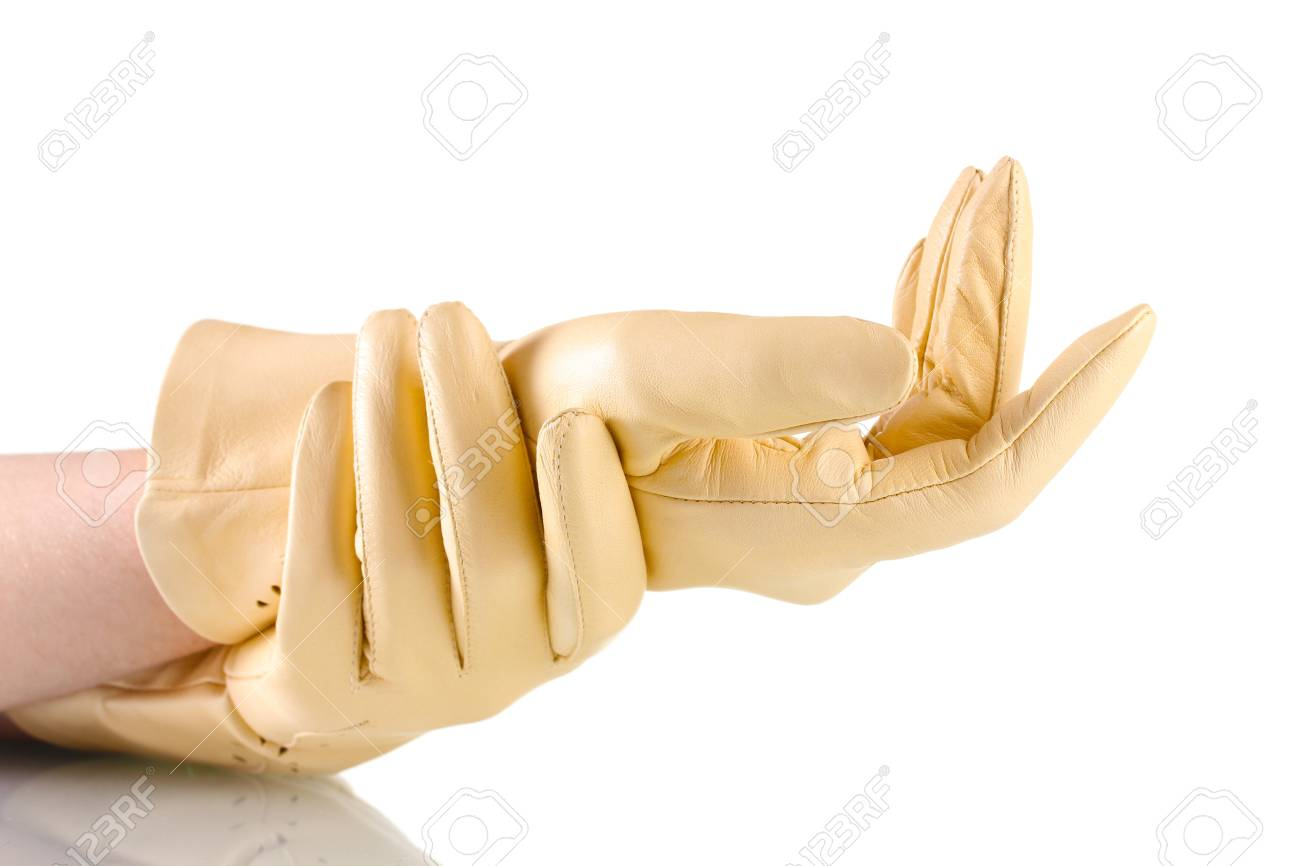 Womens beige leather gloves - Stock Photo Women S Hands In Beige Leather Gloves Isolated On White