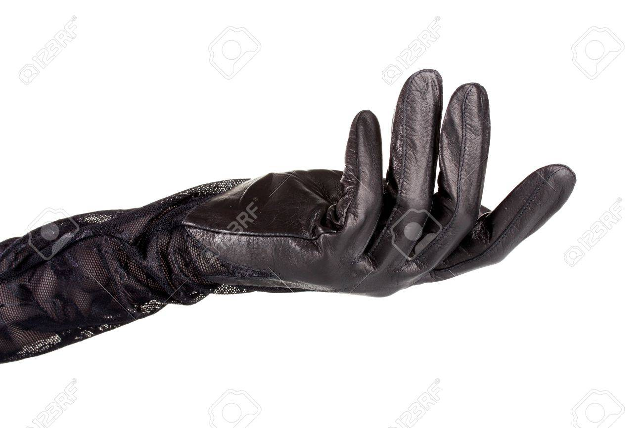 9cfce6a33 women hand in black leather glove isolated on white Stock Photo - 11194422