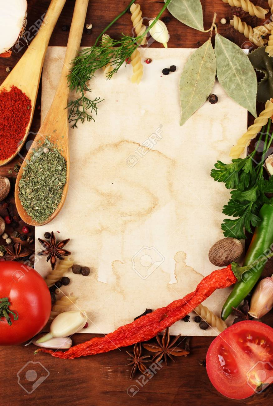 old paper for recipes and spices on wooden table Stock Photo - 11399577