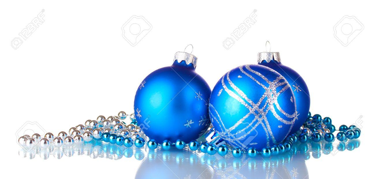 Blue Christmas Balls Isolated On White Background Stock Photo ...