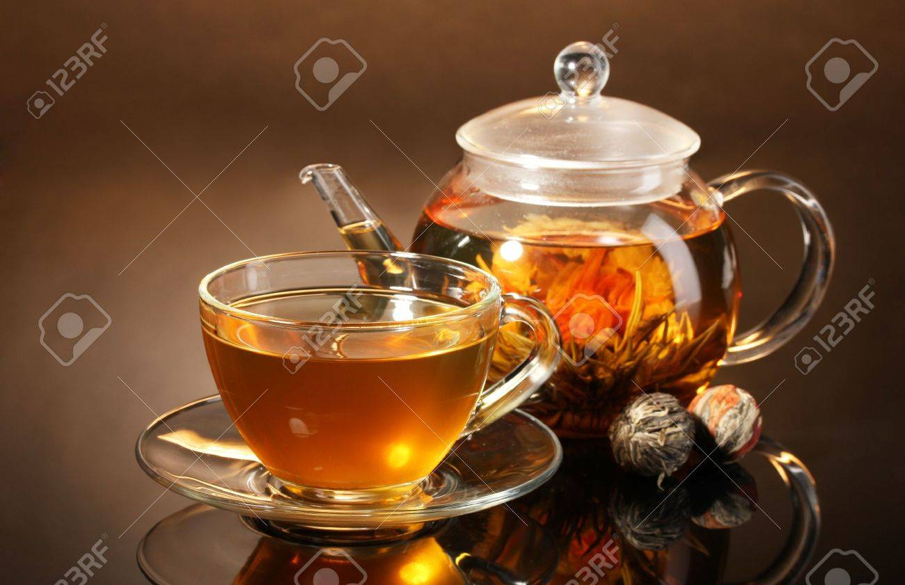 Chinese flower tea - Flower Tea Ball Glass Teapot And Cup With Exotic Green Tea On Wooden Table On
