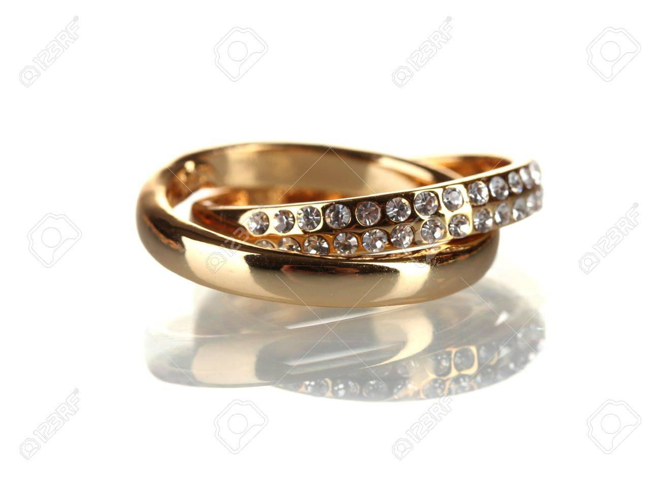 Golden ring isolated on white Stock Photo - 11910878