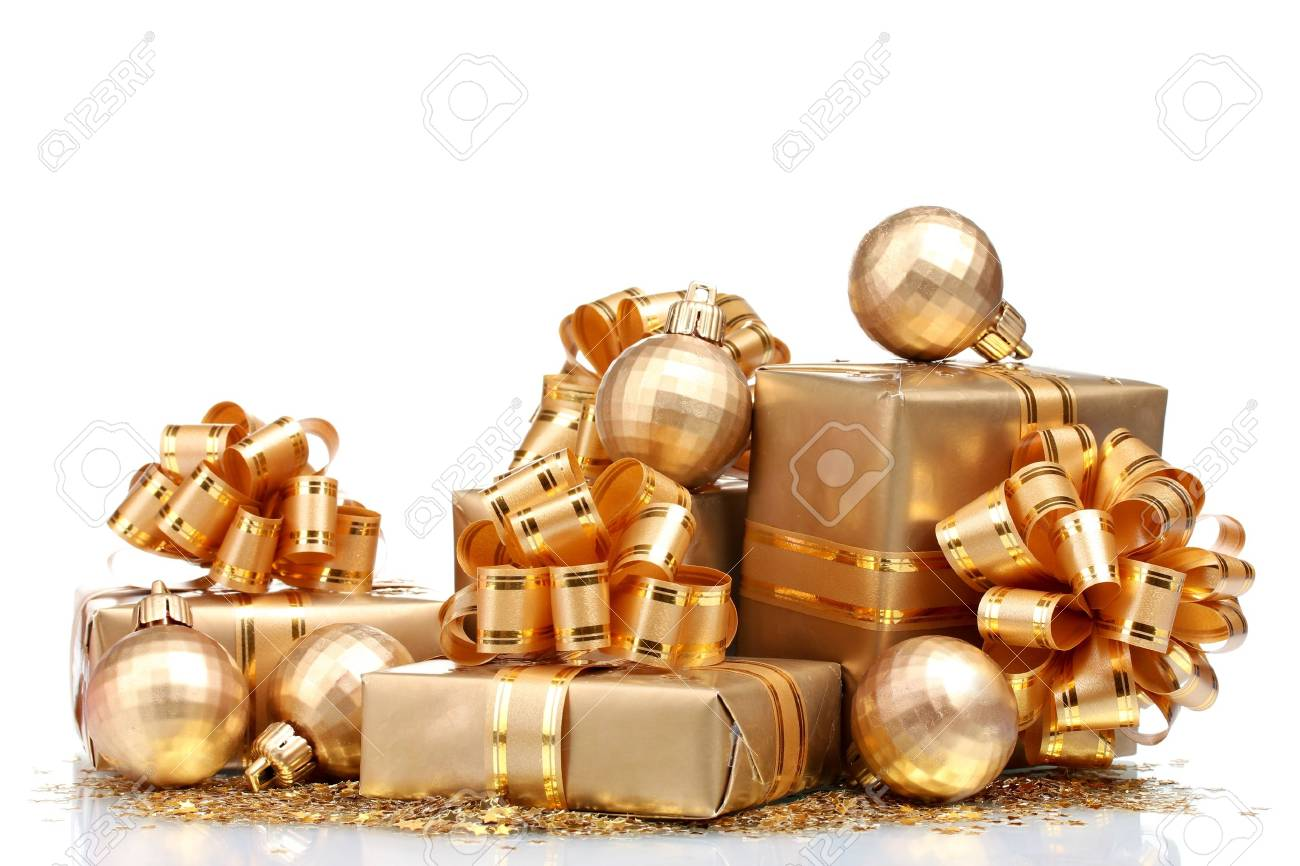 Beautiful gifts in gold packaging and Christmas balls isolated on white Stock Photo - 11911887