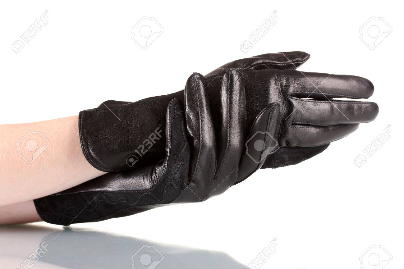Black leather gloves with coloured fingers - Stock Photo Women S Hands In Black Leather Gloves Isolated On White