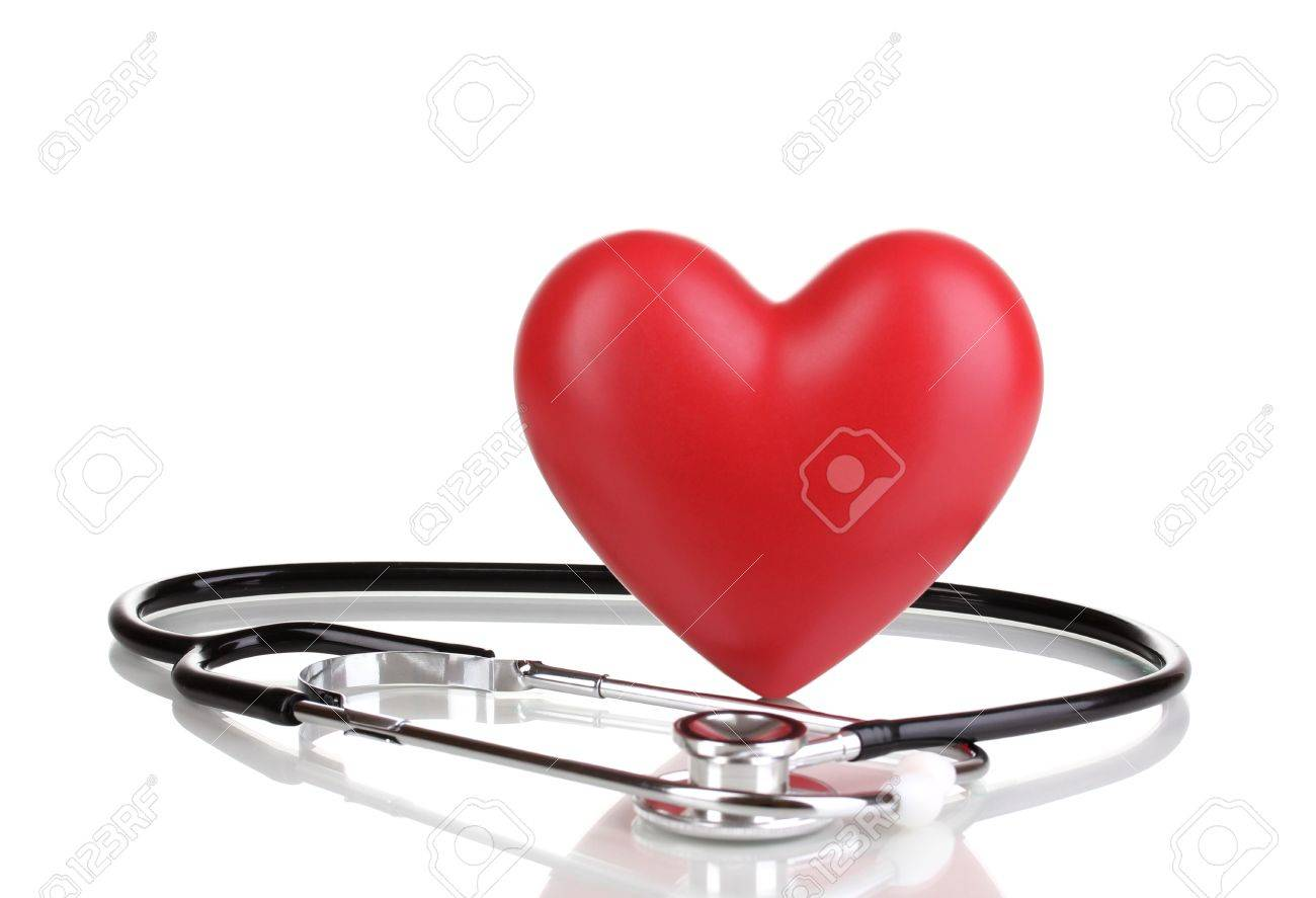Medical stethoscope and heart isolated on white Stock Photo - 12438618