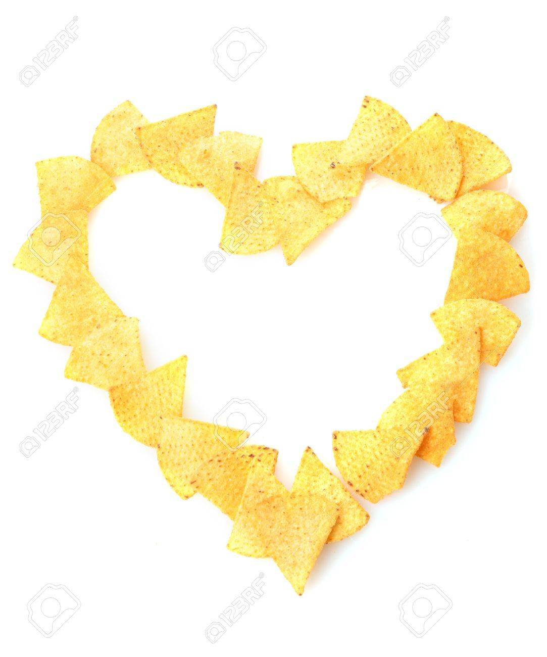 Delicious Potato Chips Heart Shape Isolated On White Stock Photo