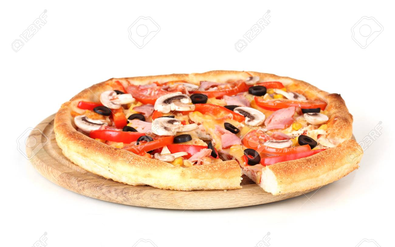 Sliced pizza close-up isolated on white Stock Photo - 12564466