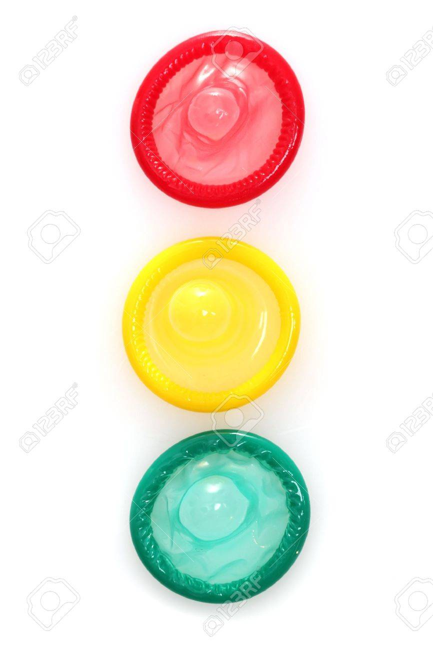 Colorful condoms isolated on white Stock Photo - 12664136