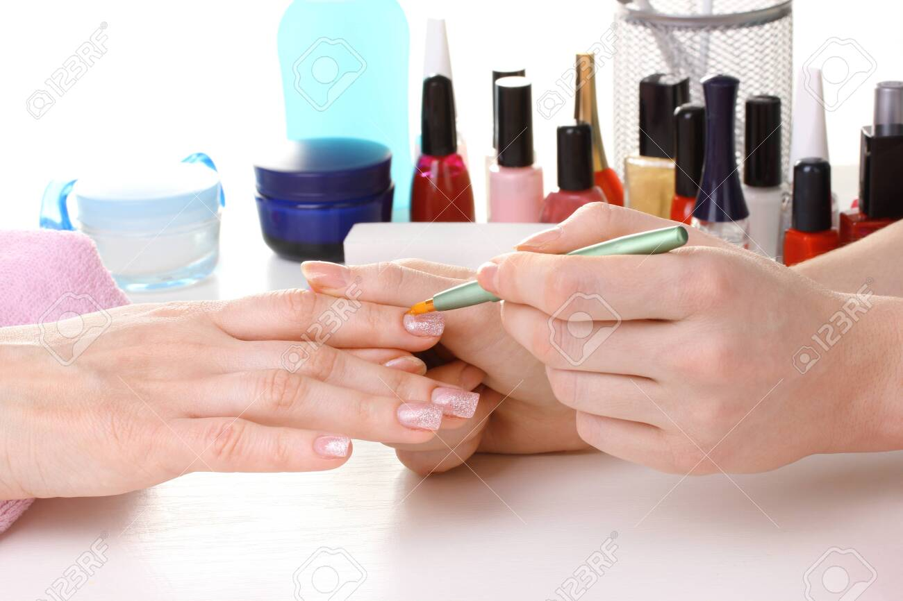 Manicure process in beautiful salon Stock Photo - 12664790