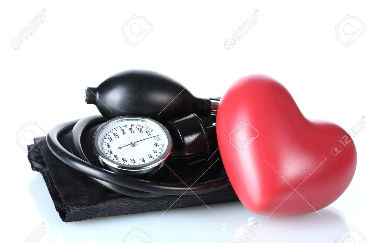 Black tonometer and heart isolated on white Stock Photo - 12664282