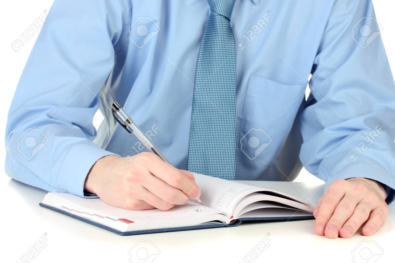 Businessman writing on document Stock Photo - 12914400