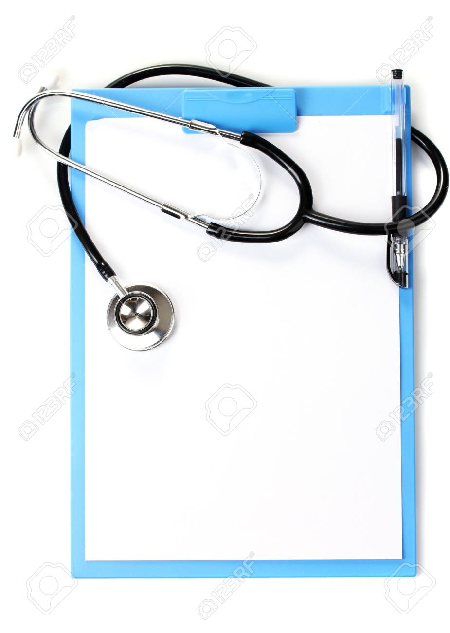 stethoscope and blue clipboard isolated on white Stock Photo - 12912805