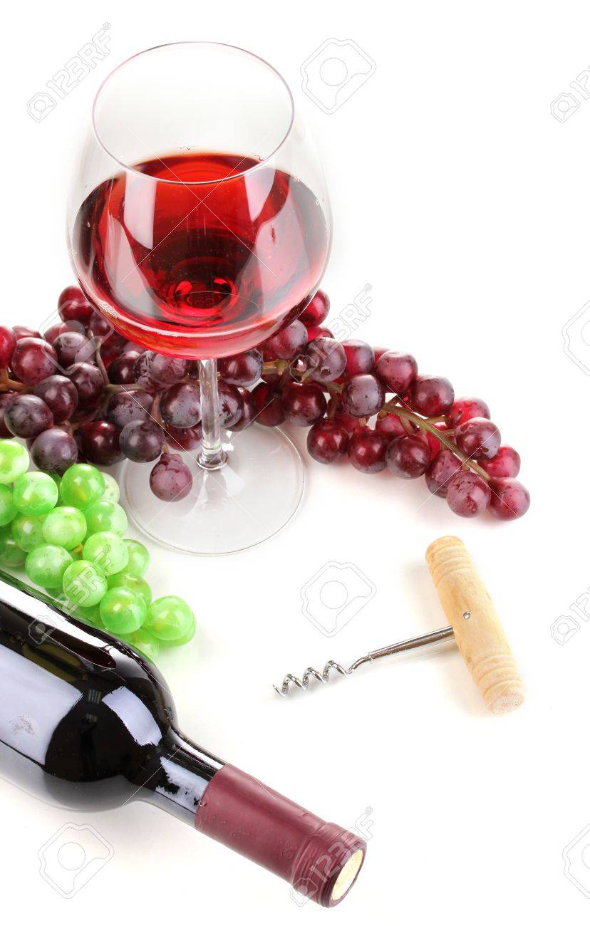 Bottle of great wine with wineglass and corkscrew isolated on white Stock Photo - 12913320
