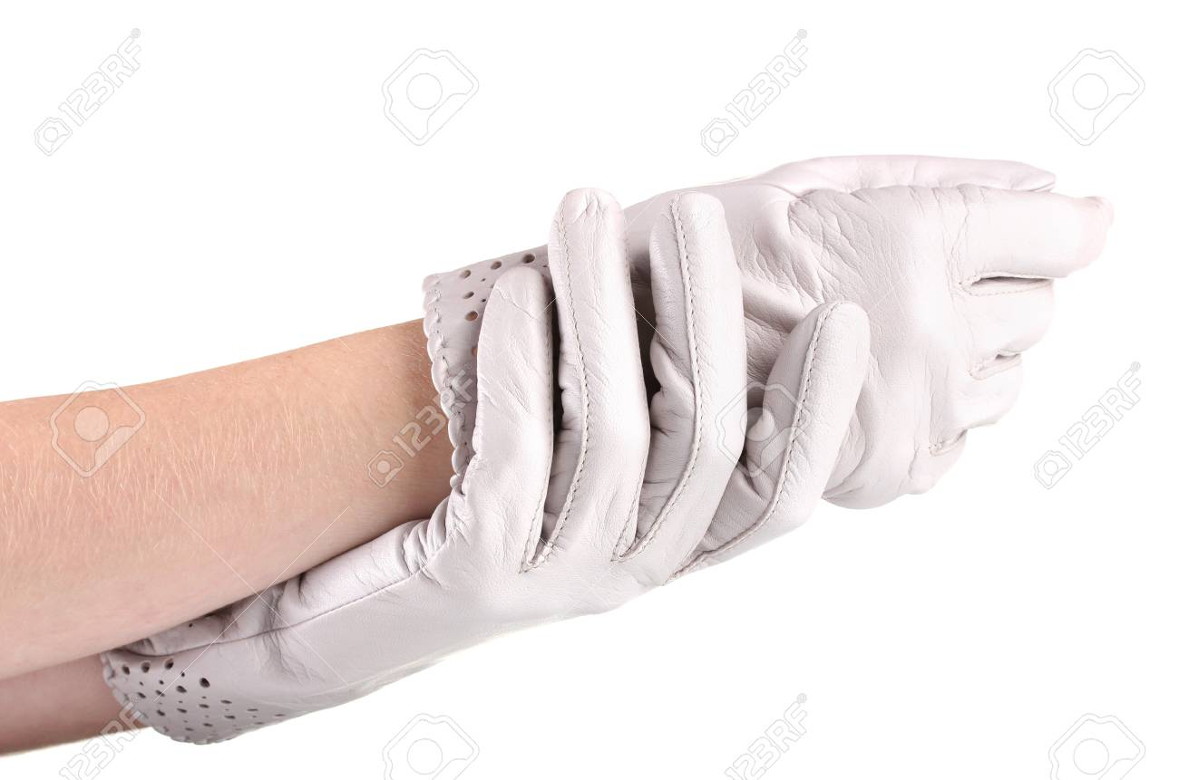 2ad9d28d8 women's hands in gray leather gloves isolated on white Stock Photo -  13083610