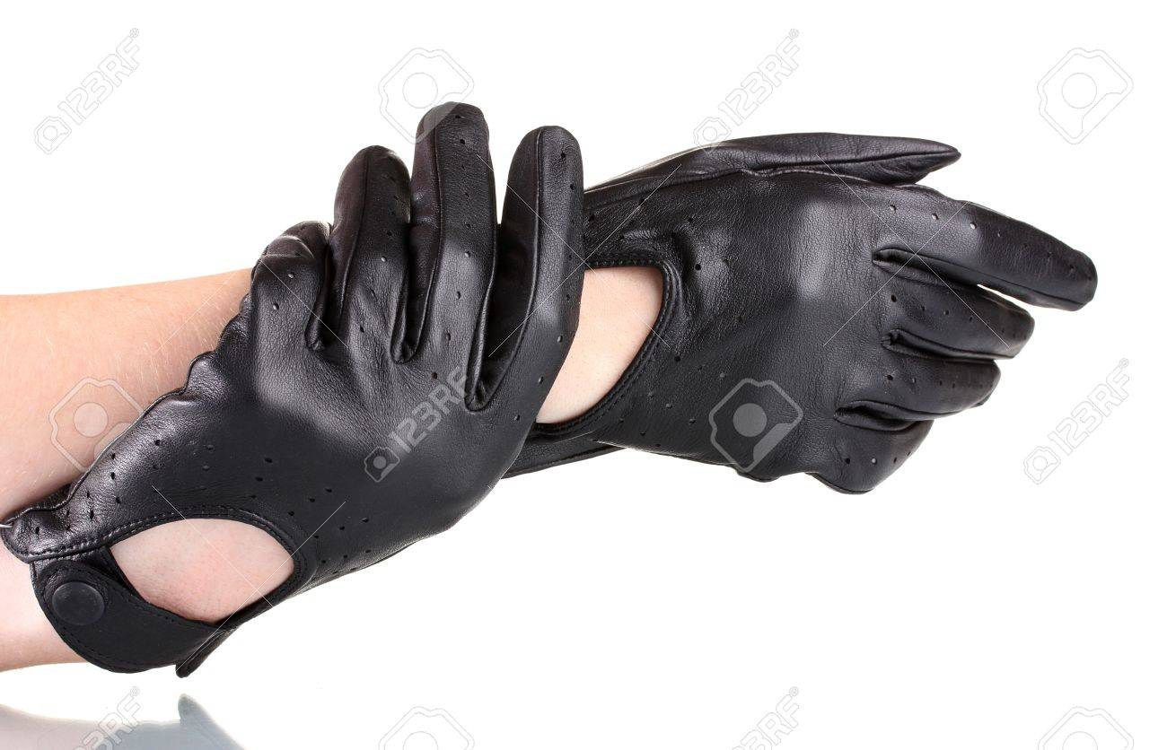 Black leather gloves female - Stock Photo Women S Hands In Black Leather Gloves Isolated On White