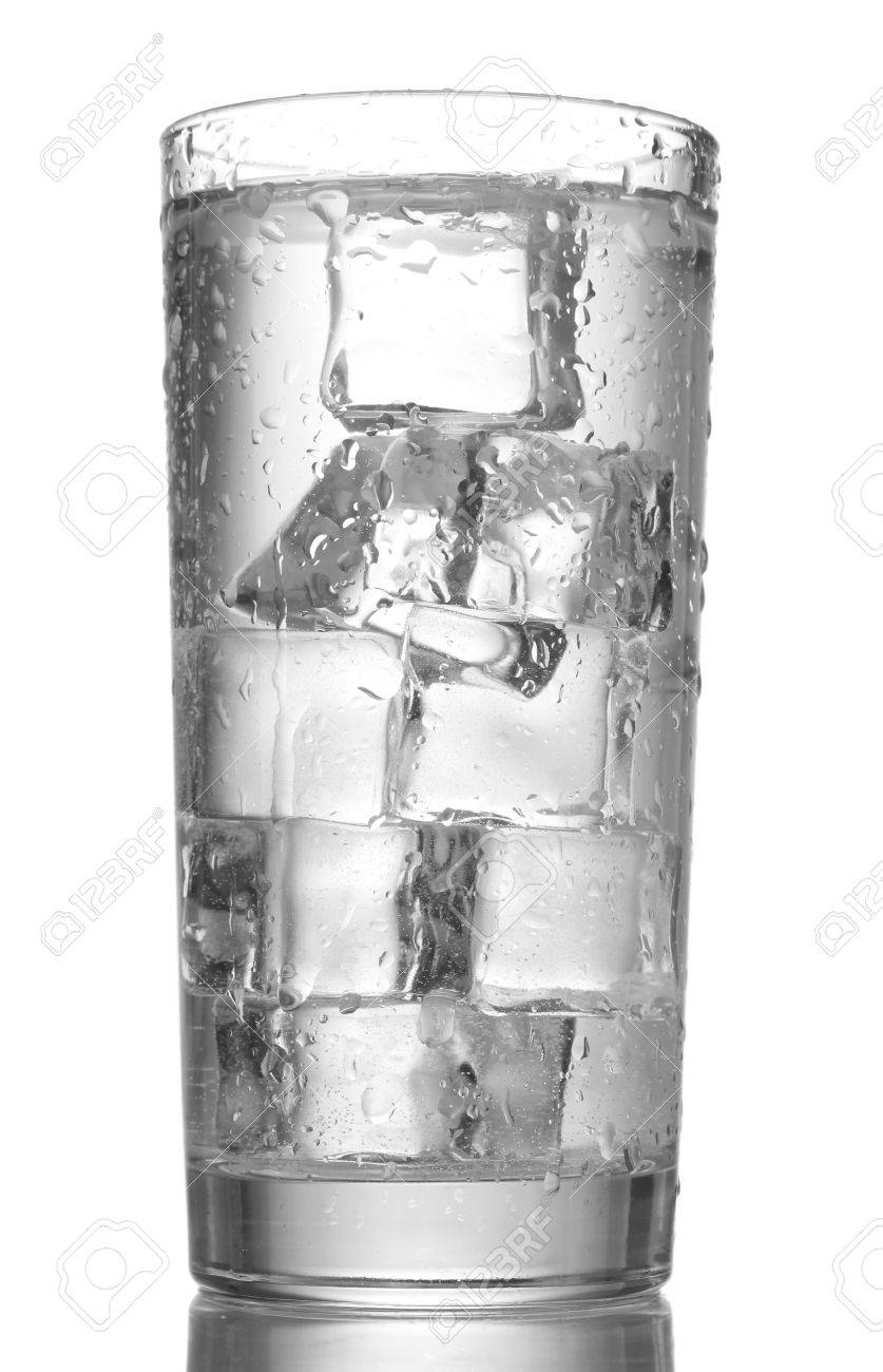glass of water with ice isolated on white Stock Photo - 13178689