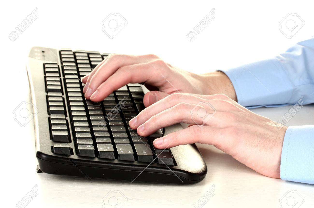 male hands typing on the keyboard isolated on white Stock Photo - 13178974