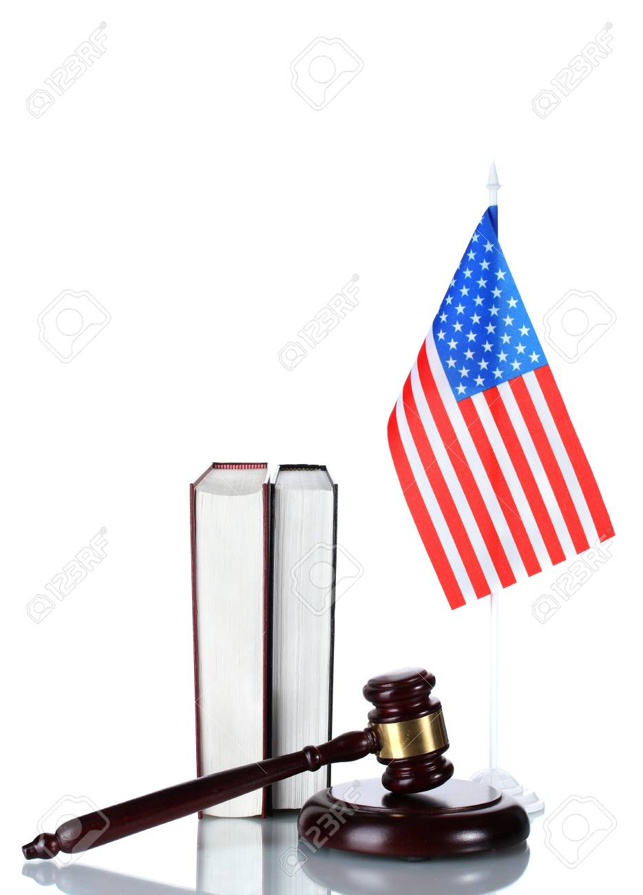 judge gavel, books and american flag isolated on white Stock Photo - 13223314