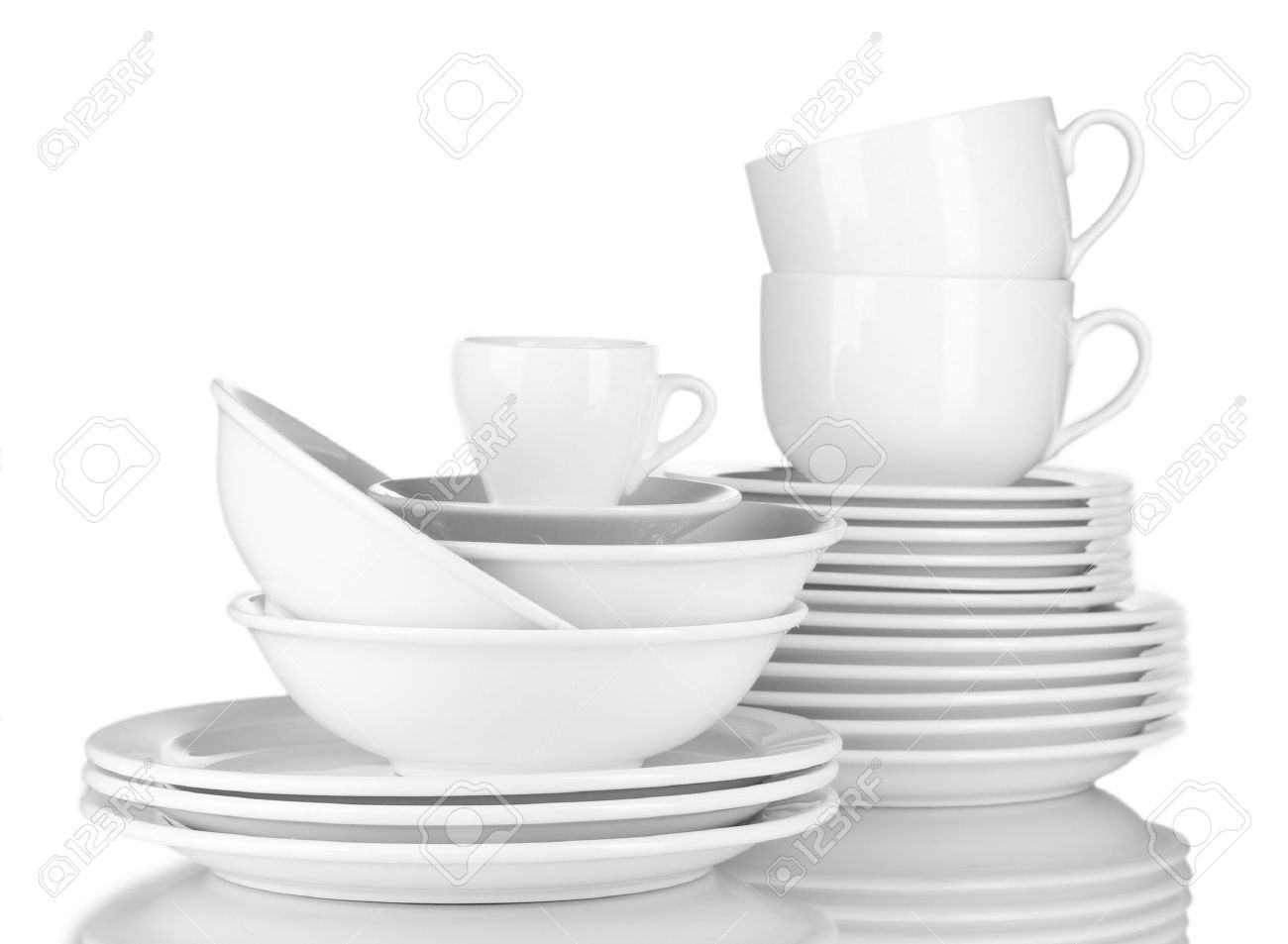 empty bowls, plates and cups on gray background Stock Photo - 13374898