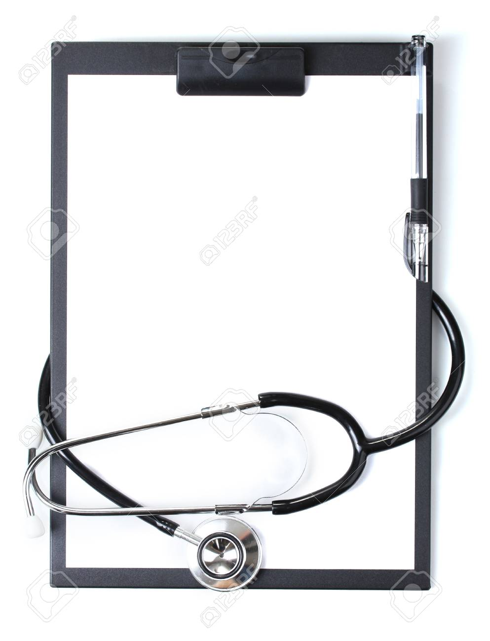 stethoscope and black clipboard isolated on white Stock Photo - 13374883