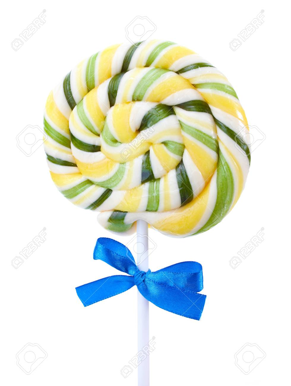 Colorful lollipop with bow isolated on white Stock Photo - 13374654