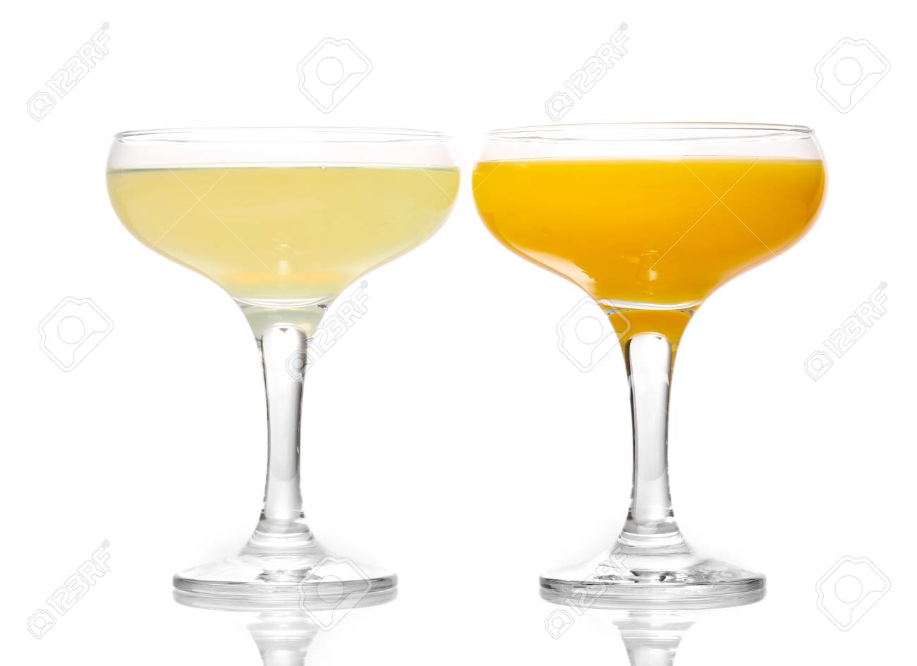 Tropical juices in glasses isolated on white Stock Photo - 13375016