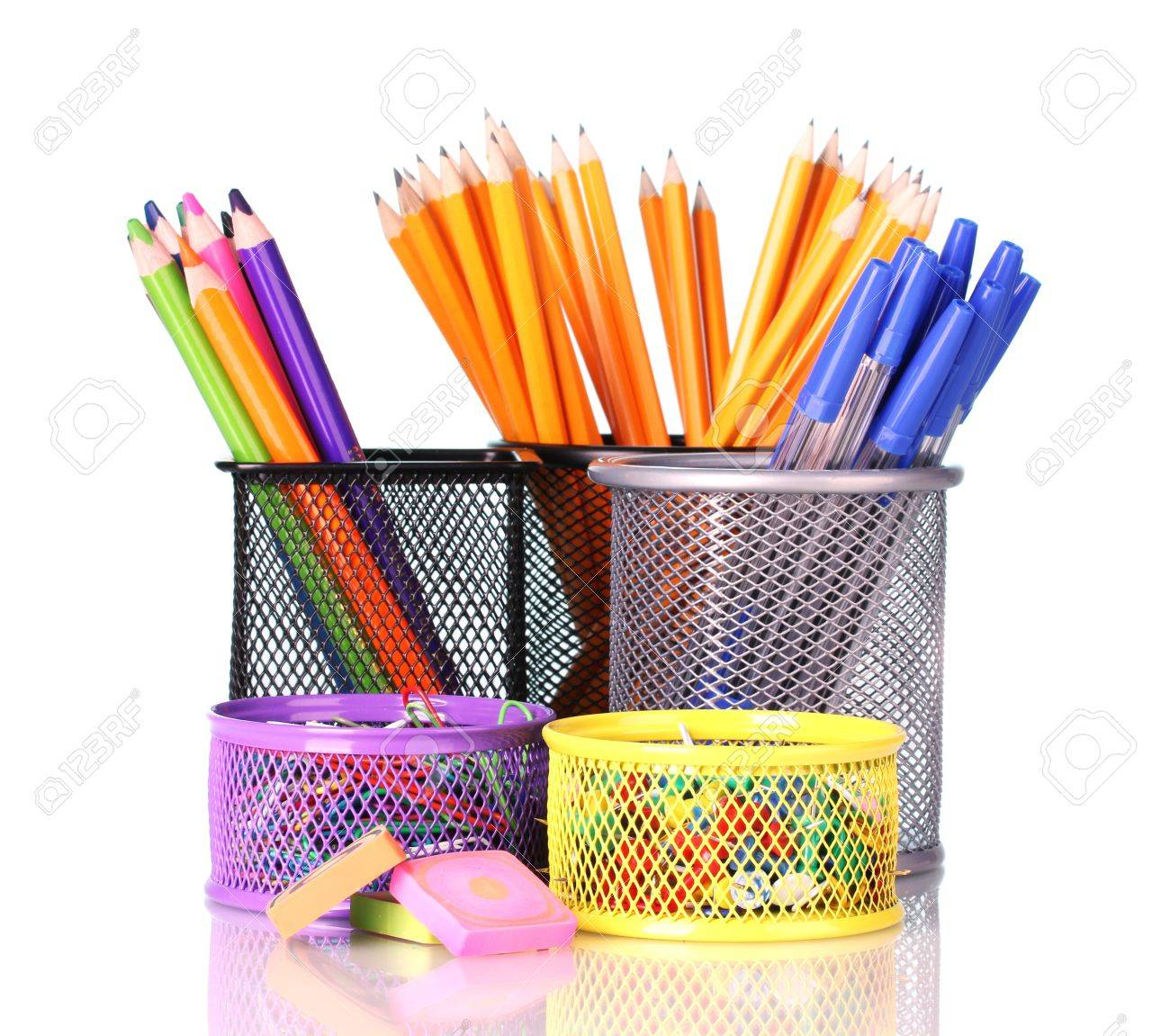 Color holders for office supplies with them on bright background Stock Photo - 13374153