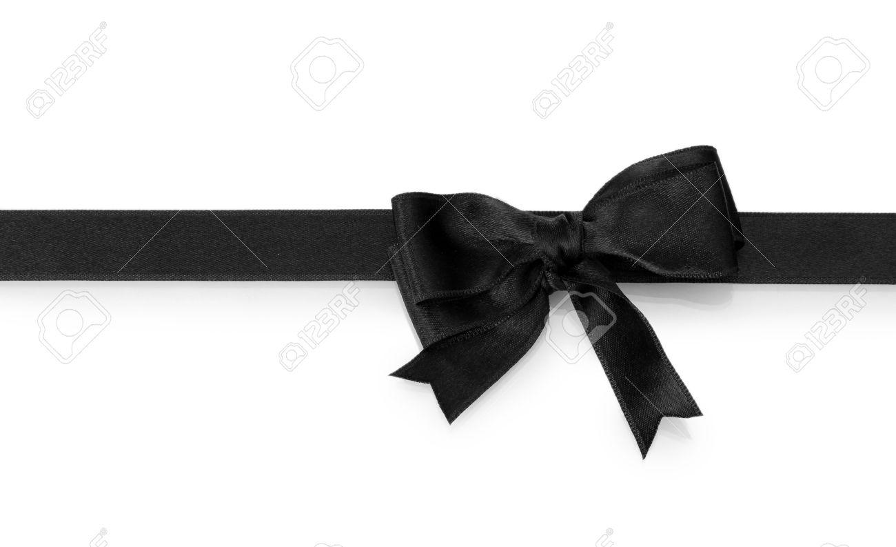 Black Ribbon Bow black bow on ribbon isolated