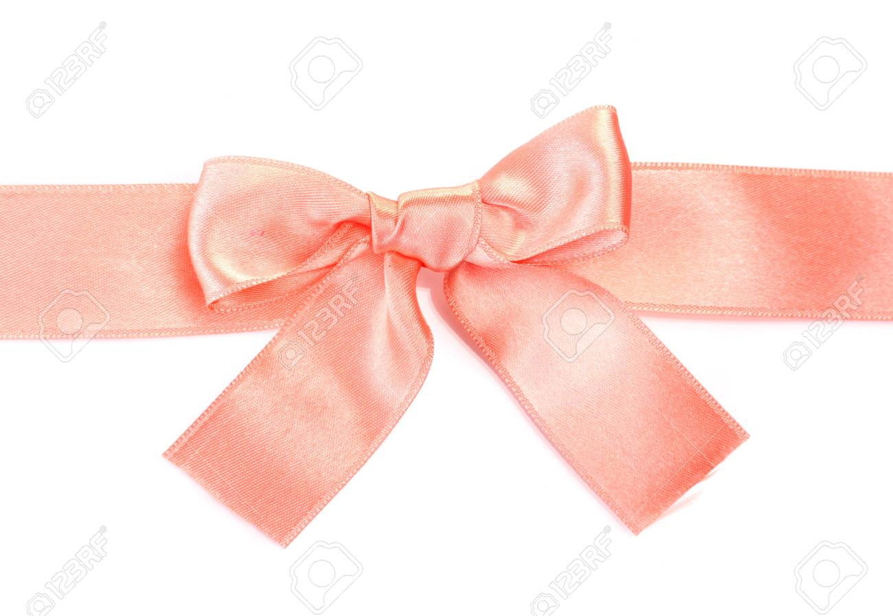 beautiful orange satin bow and ribbon isolated on white Stock Photo - 13517569