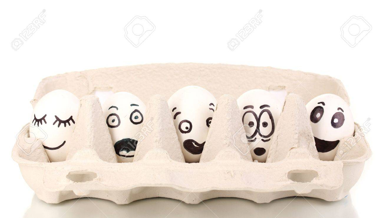 White eggs with funny faces Stock Photo - 13580517